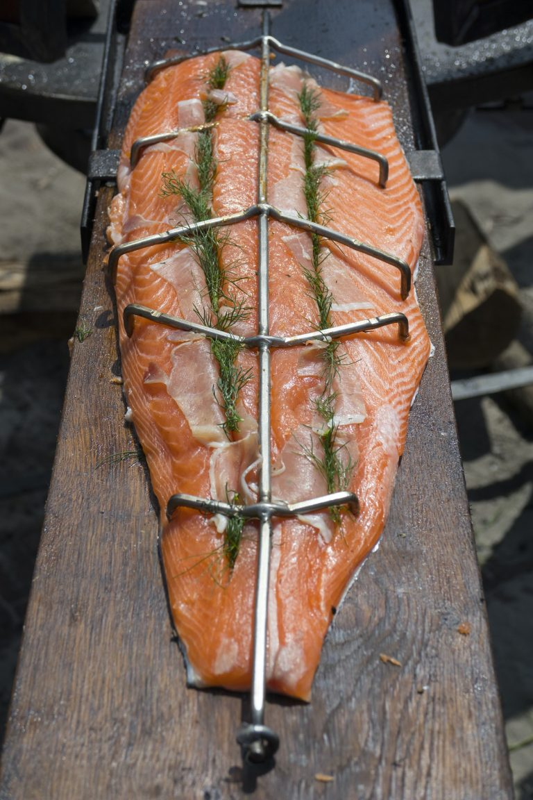 Piece of fresh salmon ready to be smoked
